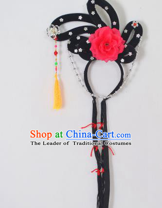 Traditional Handmade Chinese Classical Peking Opera Young Lady Hair Accessories and Wigs, China Beijing Opera Maidservants Diva Red Flower Headwear