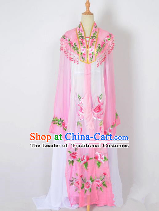 Traditional Chinese Professional Peking Opera Nobility Lady Water Sleeve Costume Embroidery Pink Shawl, China Beijing Opera Shaoxing Opera Royal Princess Dress Clothing