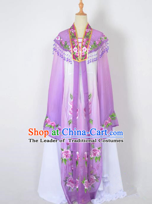 Traditional Chinese Professional Peking Opera Nobility Lady Water Sleeve Costume Embroidery Purple Shawl, China Beijing Opera Shaoxing Opera Royal Princess Dress Clothing