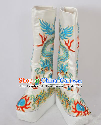 Traditional Chinese Professional Peking Opera Emperor Embroidered Shoes, China Beijing Opera King Embroidery Dragon Boots