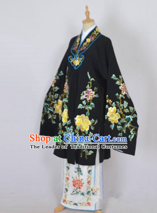 Traditional Chinese Professional Peking Opera Nobility Lady Costume Black Mantel, China Beijing Opera Shaoxing Opera Embroidery Diva Hua Tan Dress Clothing