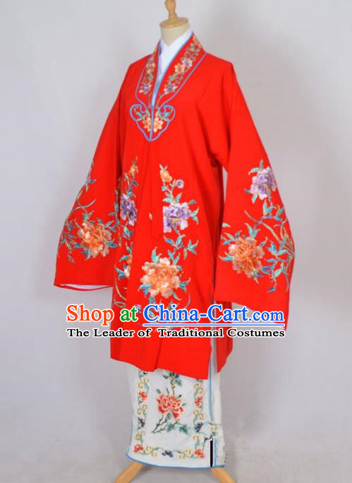 Traditional Chinese Professional Peking Opera Nobility Lady Costume Red Mantel, China Beijing Opera Shaoxing Opera Embroidery Diva Hua Tan Dress Clothing
