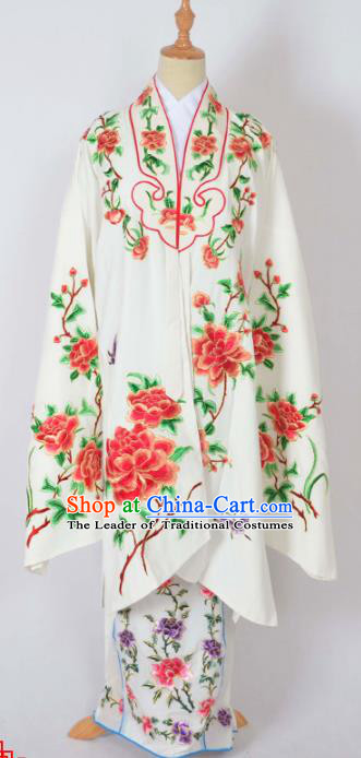 Traditional Chinese Professional Peking Opera Nobility Lady Costume Water Sleeve White Mantel, China Beijing Opera Shaoxing Opera Embroidery Peony Diva Hua Tan Dress Clothing