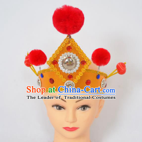 Traditional Handmade Chinese Classical Peking Opera Female General Hat, China Beijing Opera Warrior Takefu Headwear