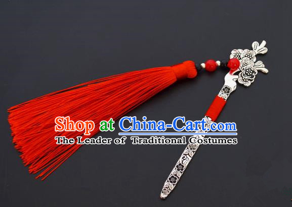 Traditional Handmade Chinese Classical Peking Opera Red Tassel Hair Accessories, China Beijing Opera Step Shake Hairpins