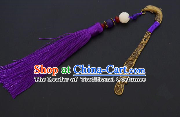 Traditional Handmade Chinese Classical Peking Opera Purple Tassel Hair Accessories, China Beijing Opera Step Shake Hairpins