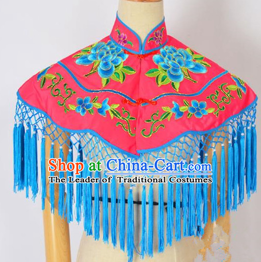 Traditional Handmade Chinese Classical Peking Opera Young Lady Embroidery Peony Cloud Shoulder, China Beijing Opera Maidservants Diva Rosy Shawl