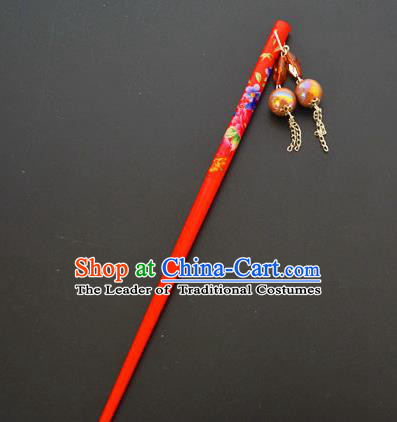 Traditional Handmade Chinese Classical Peking Opera Tassel Red Hair Stick Hair Accessories, China Beijing Opera Step Shake Wood Hairpins