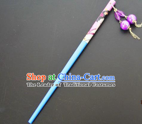 Traditional Handmade Chinese Classical Peking Opera Tassel Blue Hair Stick Hair Accessories, China Beijing Opera Step Shake Wood Hairpins