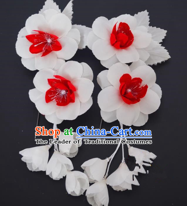 Traditional Handmade Chinese Classical Peking Opera White Silk Flowers Hair Stick Hair Accessories, China Beijing Opera Diva Step Shake Tassel Hairpins