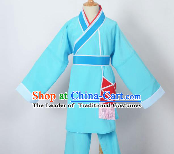 Traditional Chinese Professional Peking Opera Children Costume, China Beijing Opera Shaoxing Opera Village Kids Blue Uniform Livehand Clothing