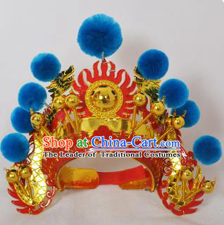 Traditional Handmade Chinese Classical Peking Opera Blues Accessories Blue Venonat Hat, China Beijing Opera Swordplay Warriors Headwear