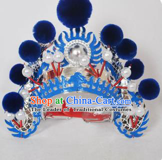 Traditional Handmade Chinese Classical Peking Opera Blues Accessories Royalblue Venonat Hat, China Beijing Opera Swordplay Warriors Blue Headwear