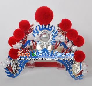 Traditional Handmade Chinese Classical Peking Opera Blues Accessories Red Venonat Hat, China Beijing Opera Swordplay Warriors Blue Headwear