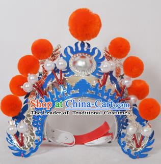 Traditional Handmade Chinese Classical Peking Opera Blues Accessories Orange Venonat Hat, China Beijing Opera Swordplay Warriors Blue Headwear