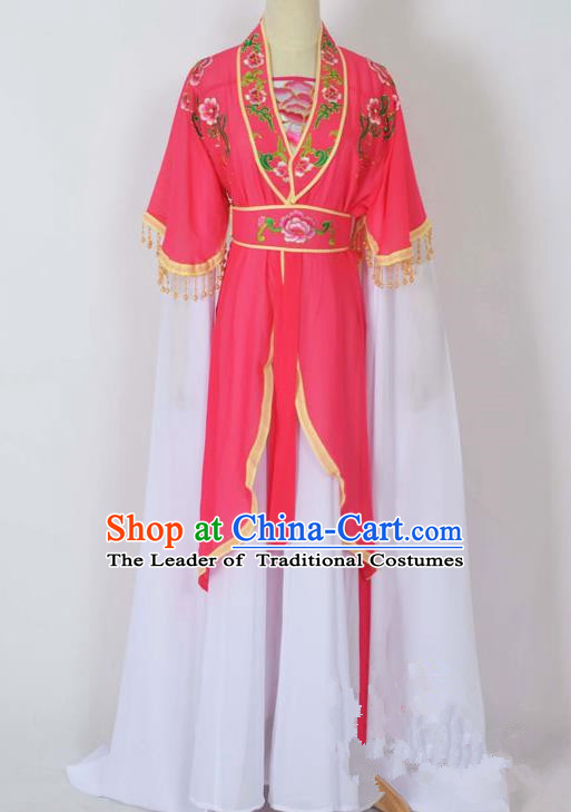 Traditional Chinese Professional Peking Opera Young Lady Costume Embroidery Rosy Dress, China Beijing Opera Diva Hua Tan Water Sleeve Clothing