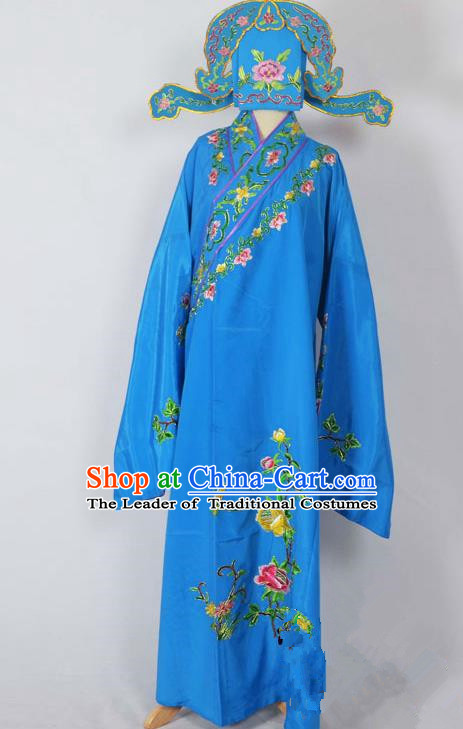 Traditional Chinese Professional Peking Opera Young Men Costume, China Beijing Opera Niche Gifted Scholar Embroidery Deep Blue Robe Clothing