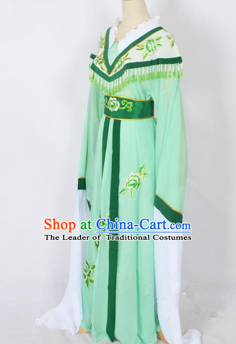Traditional Chinese Professional Peking Opera Young Lady Princess Costume Light Green Embroidery Dress, China Beijing Opera Diva Hua Tan Embroidered Robe Clothing