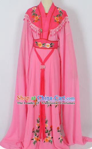 Traditional Chinese Professional Peking Opera Young Lady Seven Fairies Costume Pink Embroidery Dress, China Beijing Opera Diva Hua Tan Embroidered Robe Clothing