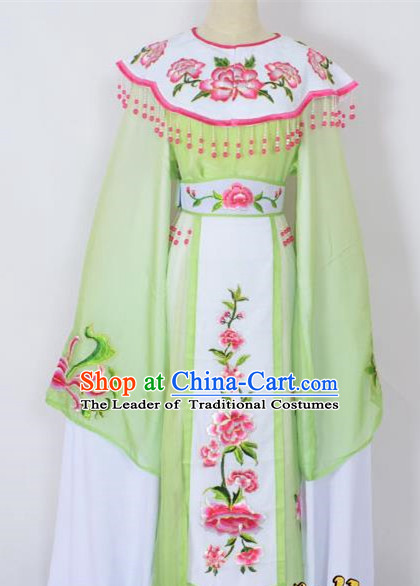 Traditional Chinese Professional Peking Opera Young Lady Princess Costume Green Embroidery Peony Dress, China Beijing Opera Diva Hua Tan Embroidered Cloud Shoulder Clothing