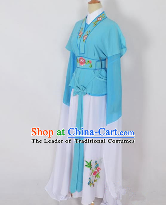 Traditional Chinese Professional Peking Opera Jordan-Sitting Water Sleeve Costume Blue Embroidery Dress, China Beijing Opera Diva Hua Tan Embroidered Clothing