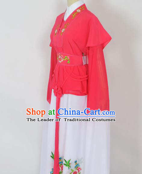 Traditional Chinese Professional Peking Opera Jordan-Sitting Water Sleeve Costume Rosy Embroidery Dress, China Beijing Opera Diva Hua Tan Embroidered Clothing