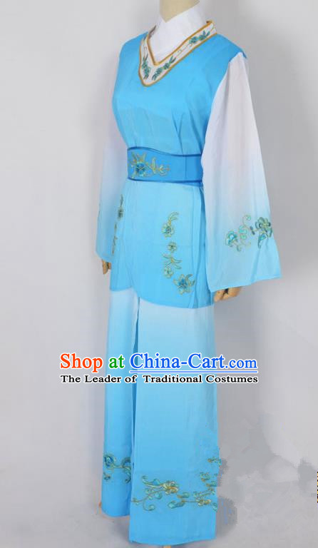 Traditional Chinese Professional Peking Opera Jordan-Sitting Maidservants Blue Costume, China Beijing Opera Diva Hua Tan Palace Lady Embroidered Clothing