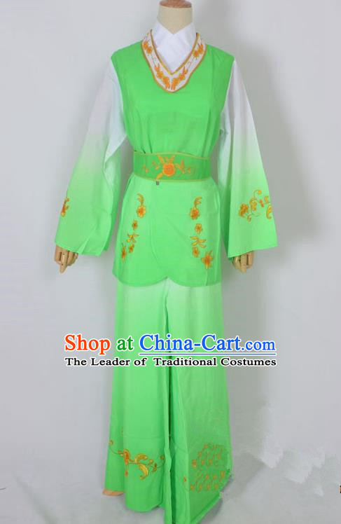 Traditional Chinese Professional Peking Opera Jordan-Sitting Maidservants Green Costume, China Beijing Opera Diva Hua Tan Palace Lady Embroidered Clothing