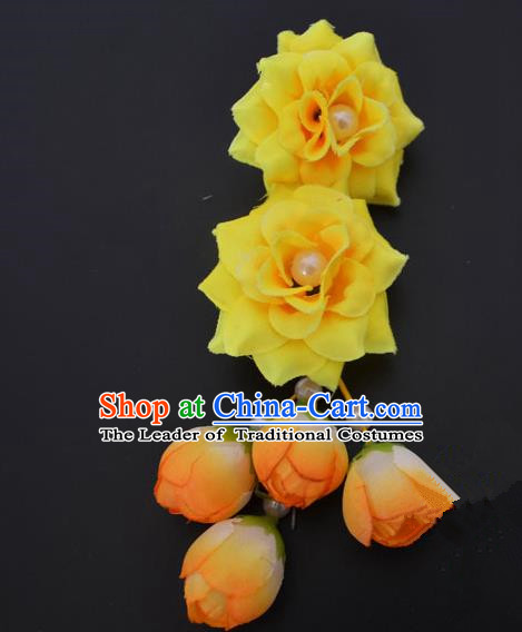 Traditional Handmade Chinese Classical Peking Opera Young Lady Hua Tan Hair Accessories Yellow Temples Flowers, China Beijing Opera Diva Princess Headwear Tassel Hairpins