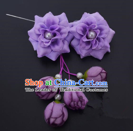 Traditional Handmade Chinese Classical Peking Opera Young Lady Hua Tan Hair Accessories Purple Temples Flowers, China Beijing Opera Diva Princess Headwear Tassel Hairpins