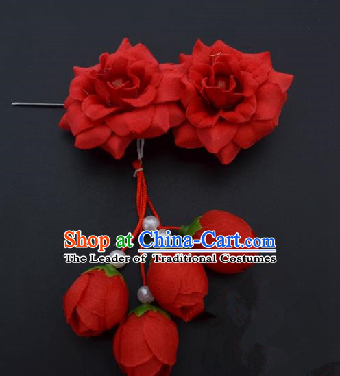 Traditional Handmade Chinese Classical Peking Opera Young Lady Hua Tan Hair Accessories Red Temples Flowers, China Beijing Opera Diva Princess Headwear Tassel Hairpins