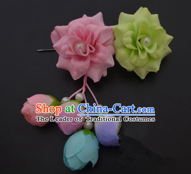 Traditional Handmade Chinese Classical Peking Opera Young Lady Hua Tan Hair Accessories Pink and Green Temples Flowers, China Beijing Opera Diva Princess Headwear Tassel Hairpins