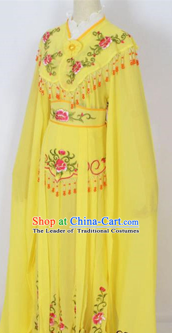 Traditional Chinese Professional Peking Opera Young Lady Costume Yellow Embroidery Dress, China Beijing Opera Diva Hua Tan Embroidered Clothing