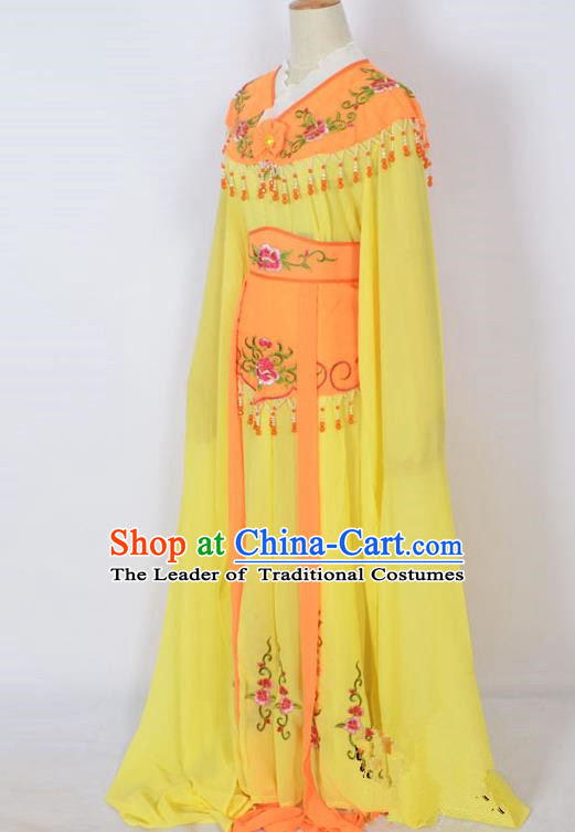 Traditional Chinese Professional Peking Opera Young Lady Costume Orange Embroidery Dress, China Beijing Opera Diva Hua Tan Embroidered Clothing