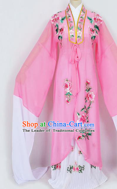 Traditional Chinese Professional Peking Opera Diva Princess Costume Embroidery Pink Mantel, China Beijing Opera Hua Tan Young Lady Embroidered Clothing
