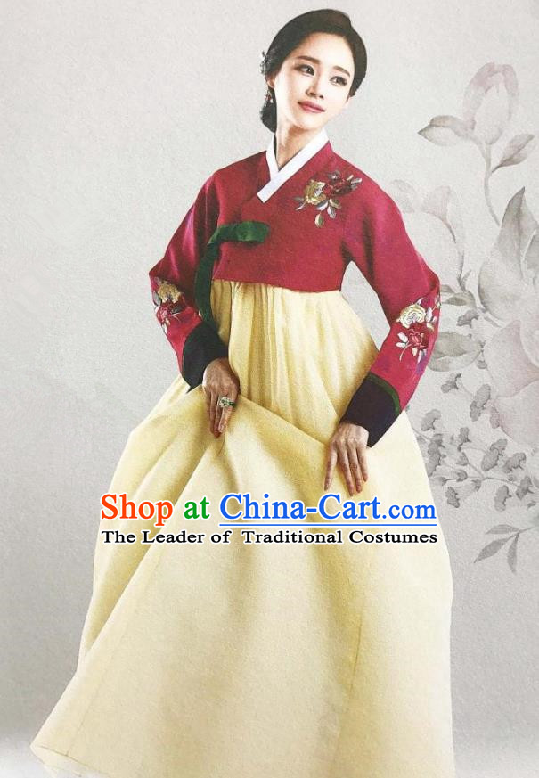 Traditional Korean Handmade Embroidery Mother Hanbok, Top Grade Korea Hanbok Wedding Red Costume for Women