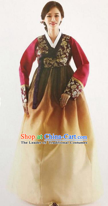 Traditional Korean Handmade Embroidery Bride Hanbok, Top Grade Korea Hanbok Wedding Red Costume for Women