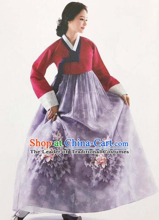 Traditional Korean Handmade Embroidery Bride Hanbok Purple Dress, Top Grade Korea Hanbok Wedding Costume for Women