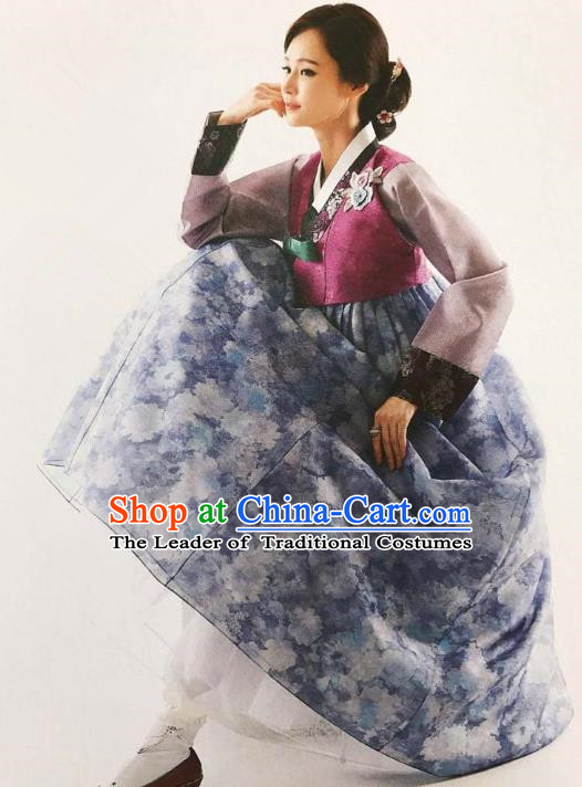 Traditional Korean Handmade Embroidery Bride Hanbok Printing Blue Full Dress, Top Grade Korea Hanbok Wedding Costume Complete Set for Women