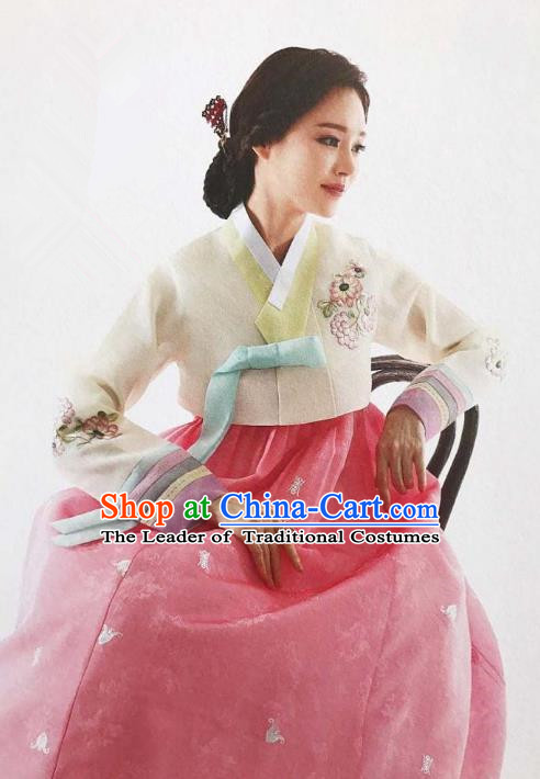 Traditional Korean Handmade Embroidery Bride Hanbok Pink Full Dress, Top Grade Korea Hanbok Wedding Costume Complete Set for Women