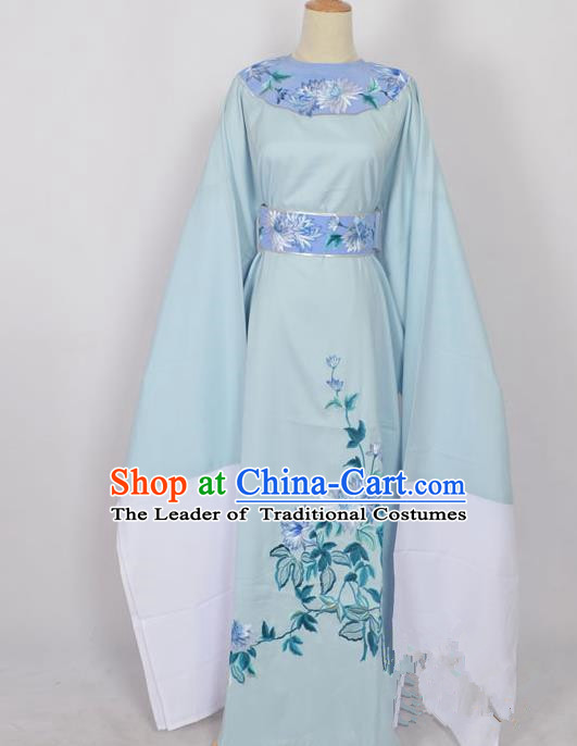 Traditional Chinese Professional Peking Opera Young Men Niche Costume Blue Embroidery Robe, China Beijing Opera Nobility Childe Scholar Embroidered Clothing