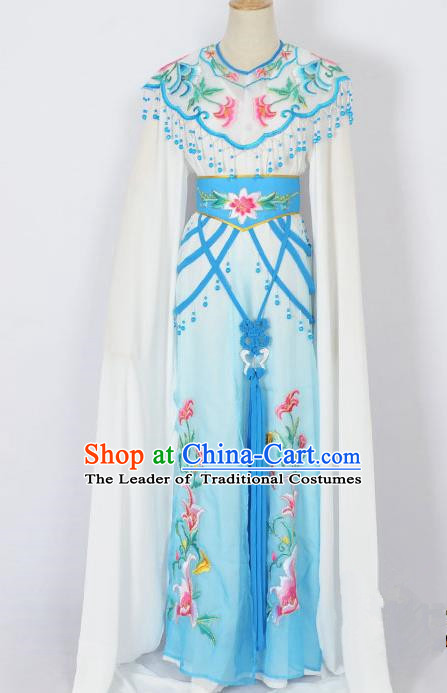 Traditional Chinese Professional Peking Opera Diva Young Lady Princess Costume White Embroidery Dress, China Beijing Opera Hua Tan Embroidered Clothing