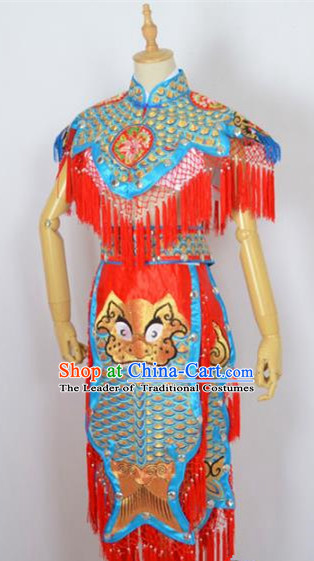 Traditional Chinese Professional Peking Opera Carp Spirit Costume, China Beijing Opera Monster Embroidered Clothing