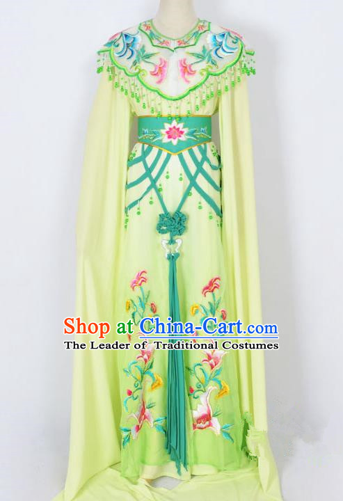 Traditional Chinese Professional Peking Opera Diva Young Lady Princess Costume Green Embroidery Dress, China Beijing Opera Hua Tan Embroidered Clothing