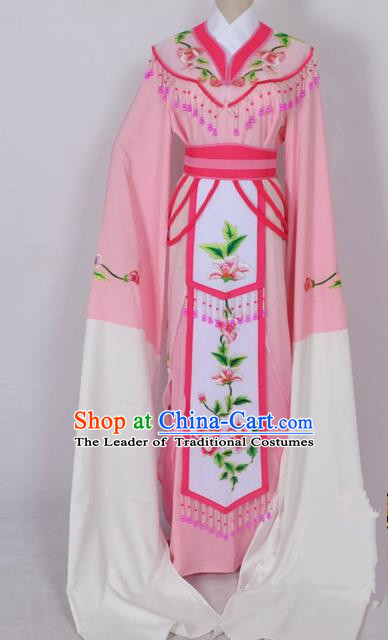 Traditional Chinese Professional Peking Opera Diva Young Lady Princess Water Sleeve Costume Pink Embroidery Dress, China Beijing Opera Hua Tan Embroidered Clothing