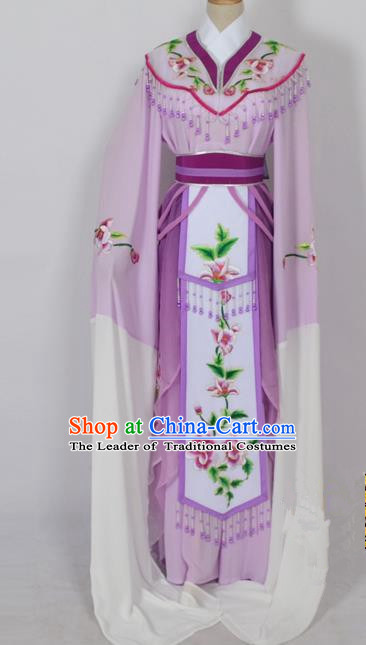 Traditional Chinese Professional Peking Opera Diva Young Lady Princess Water Sleeve Costume Purple Embroidery Dress, China Beijing Opera Hua Tan Embroidered Clothing