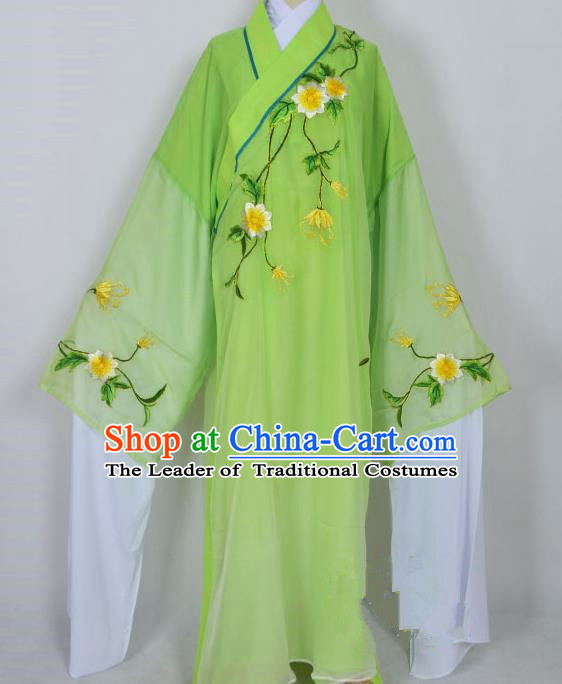 Traditional Chinese Professional Peking Opera Young Men Niche Water Sleeve Costume Green Embroidery Robe, China Beijing Opera Nobility Childe Scholar Embroidered Clothing