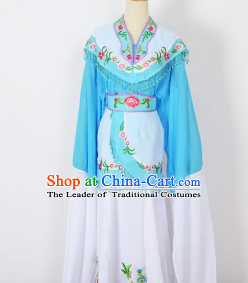 Traditional Chinese Professional Peking Opera Young Women Costume Blue Cloud Shoulder Dress, China Beijing Opera Diva Hua Tan Embroidered Clothing