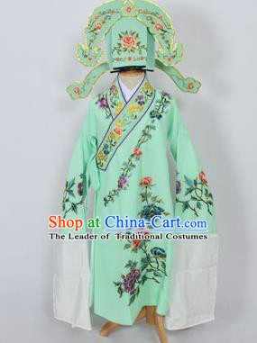 Traditional Chinese Professional Peking Opera Young Men Niche Costume Green Embroidery Robe and Hat, China Beijing Opera Nobility Childe Scholar Embroidered Clothing