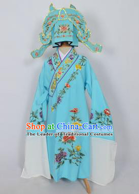 Traditional Chinese Professional Peking Opera Young Men Niche Costume Light Blue Embroidery Robe and Hat, China Beijing Opera Nobility Childe Scholar Embroidered Clothing